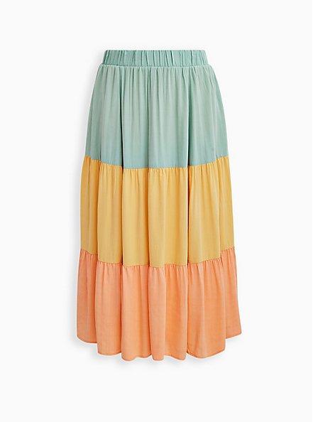 Multi Colorblock Woven Tiered Maxi Skirt, MULTI COLOR, hi-res