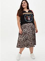Black Woodland Print Satin A-Line Midi Skirt, WOODLAND - TAN, alternate