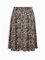 Black Woodland Print Satin A-Line Midi Skirt, WOODLAND - TAN, hi-res