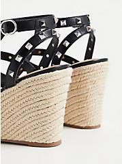 Black Faux Leather Studded Platform Wedge (WW), BLACK, alternate