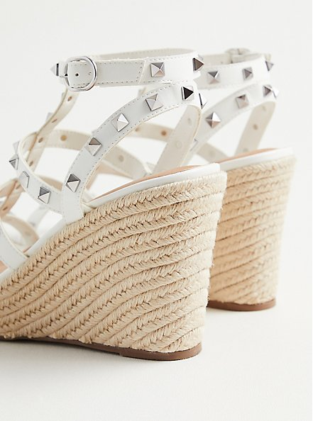 White Faux Leather Studded Platform Wedge (WW), WHITE, alternate