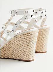 White Faux Leather Studded Platform Wedge (WW), WHITE, alternate