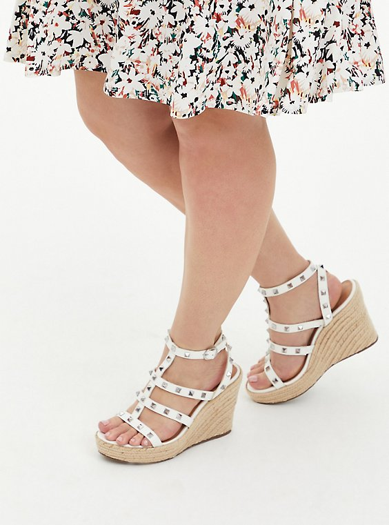 White Faux Leather Studded Platform Wedge (WW), WHITE, hi-res