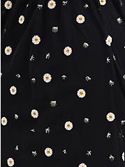 Black Lace Embroidered Midi Skirt, BLACK-WHITE FLORAL, alternate
