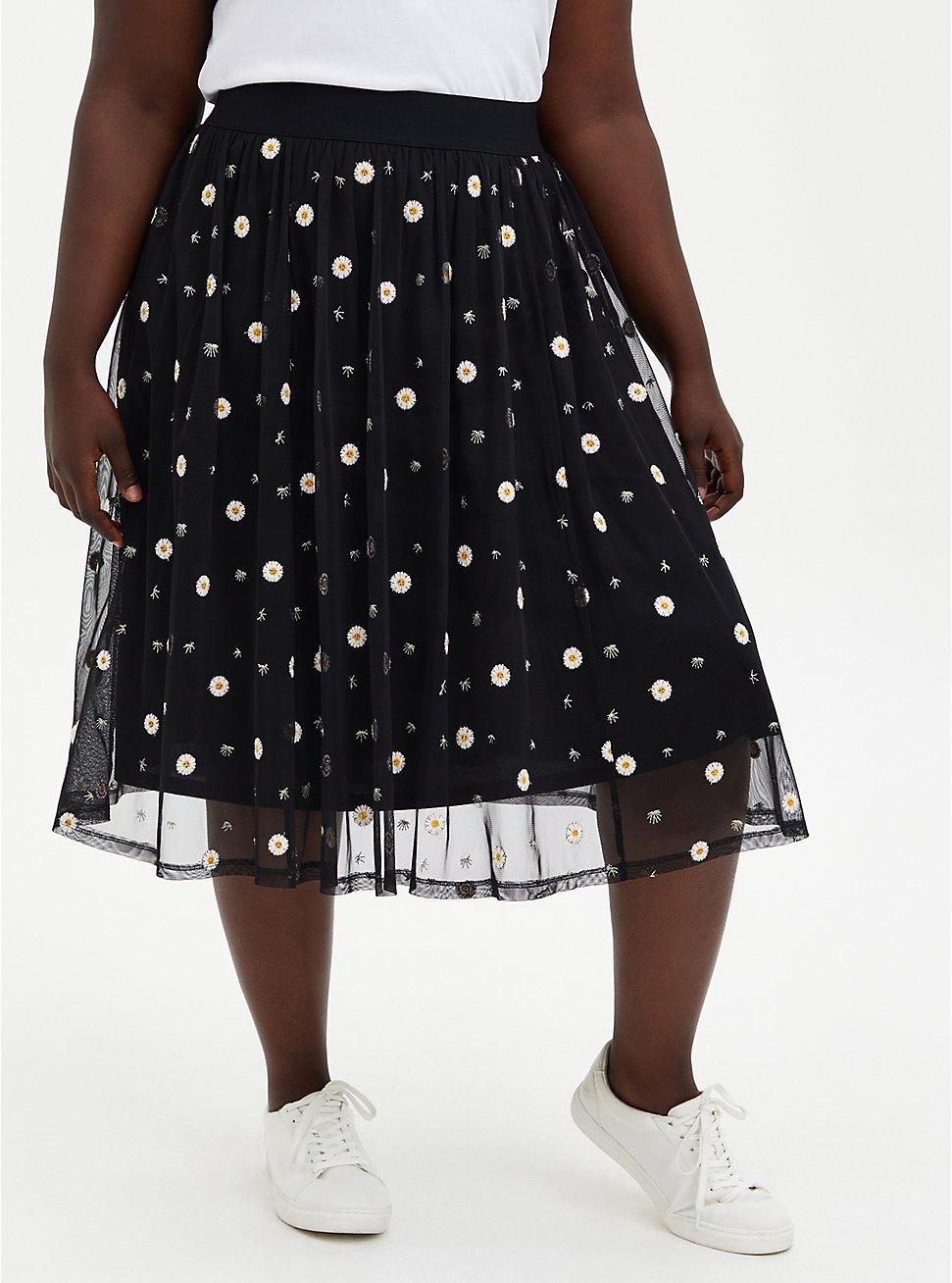Black Lace Embroidered Midi Skirt, BLACK-WHITE FLORAL, hi-res