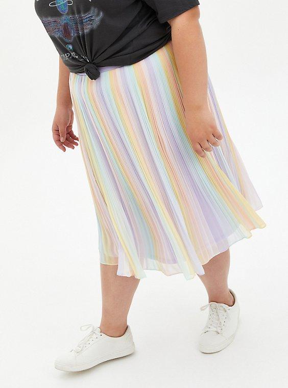 Pastel Rainbow Chiffon Pleated Midi Skirt, STRIPE - MULTI, hi-res