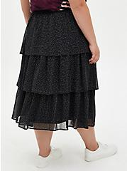 Black Chiffon Tiered Midi Skirt , BLACK GOLD, alternate