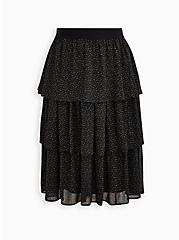 Black Chiffon Tiered Midi Skirt , BLACK GOLD, hi-res