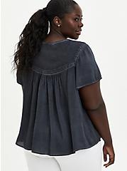 Grey Wash Challis Embroidered Blouse, NINE IRON, alternate