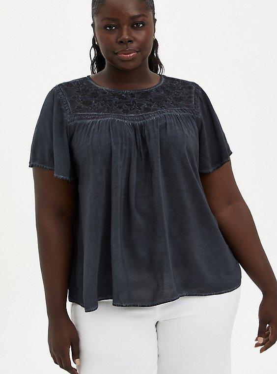 Grey Wash Challis Embroidered Blouse, NINE IRON, hi-res