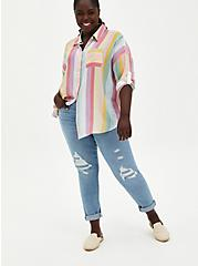 Multi Stripe Drop Shoulder Button Front Pocket Shirt, STRIPE - MULTI, alternate