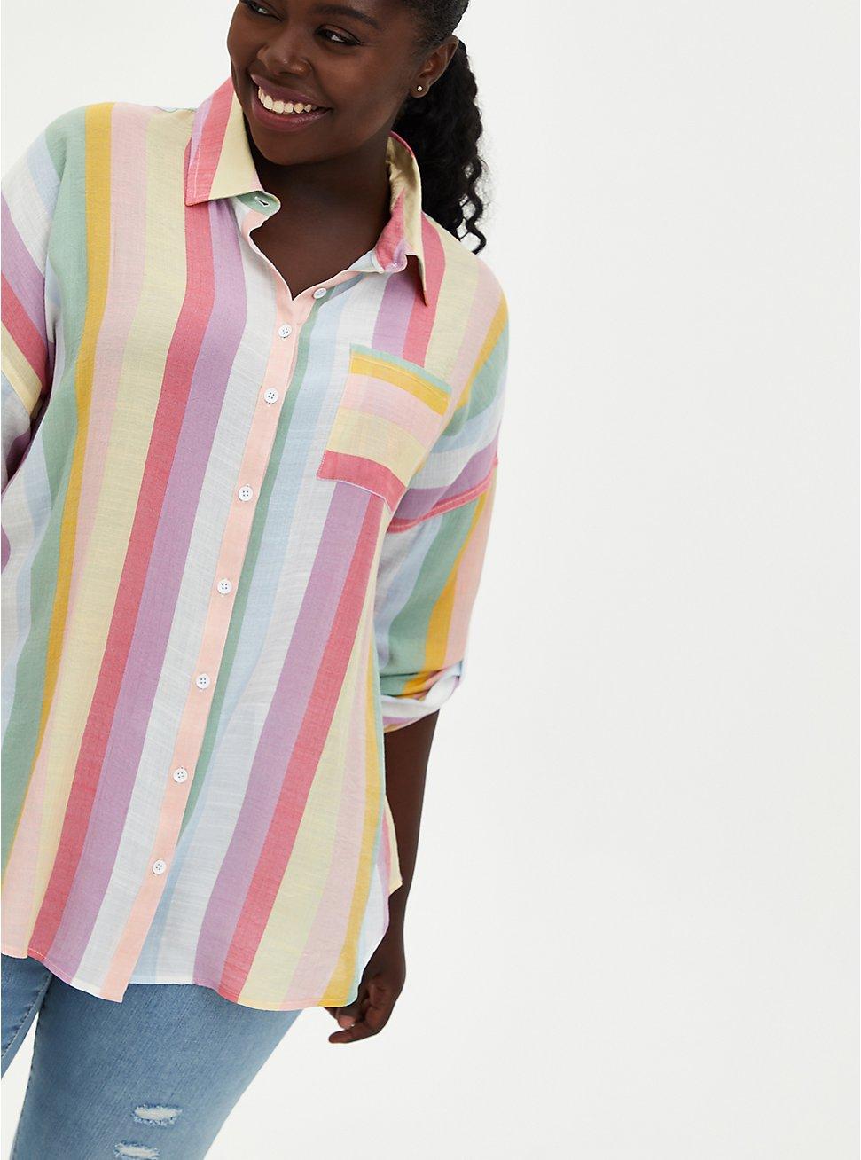 Multi Stripe Drop Shoulder Button Front Pocket Shirt, STRIPE - MULTI, hi-res