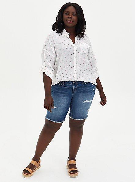 Ivory Strawberries Drop Shoulder Button Front Pocket Shirt, MULTI, alternate