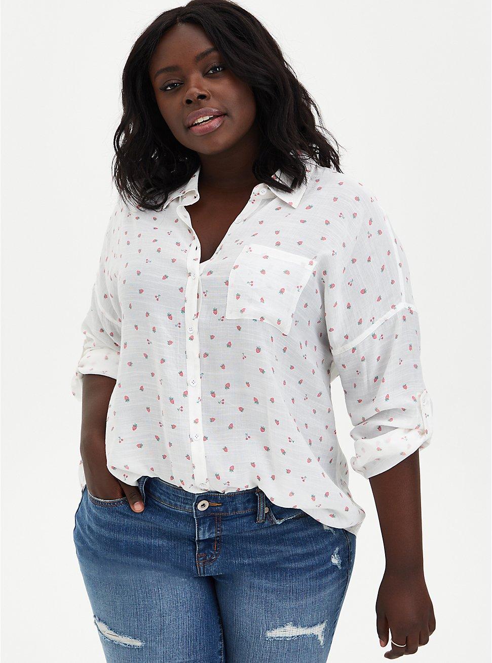 Ivory Strawberries Drop Shoulder Button Front Pocket Shirt, MULTI, hi-res