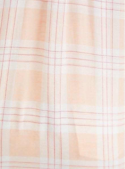 Pink Plaid Drop Shoulder Button Front Pocket Shirt, PLAID - PINK, alternate