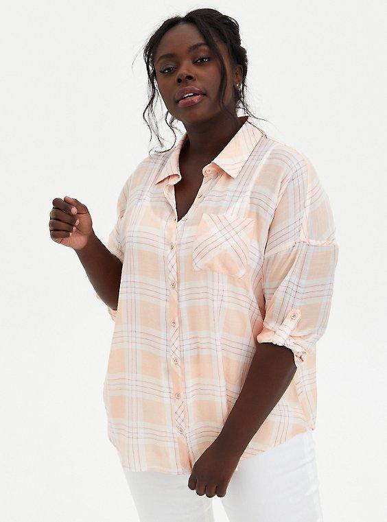 Pink Plaid Drop Shoulder Button Front Pocket Shirt, PLAID - PINK, hi-res