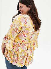 Ivory Floral Embroidered Bell Sleeve Blouse, FLORAL - WHITE, alternate