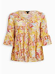 Ivory Floral Embroidered Bell Sleeve Blouse, FLORAL - WHITE, hi-res