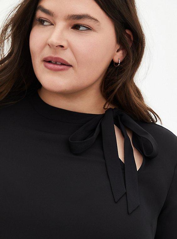 Black Georgette Bow Tie Blouse, , hi-res