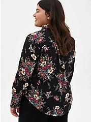 Madison - Black Floral Georgette Blouse, FLORAL - BLACK, alternate