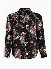Madison - Black Floral Georgette Blouse, FLORAL - BLACK, hi-res