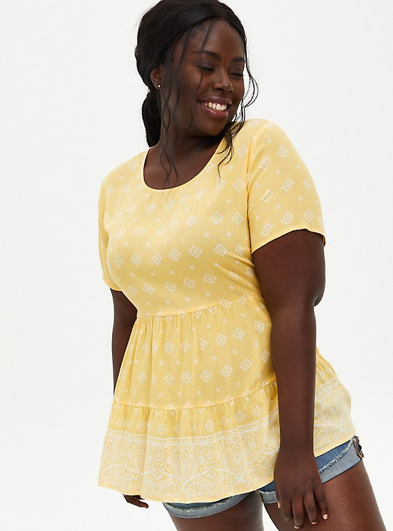 Yellow Border Print Tiered Blouse, BORDERS - YELLOW, hi-res