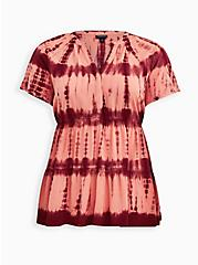 Peach Tie-Dye Tiered Tunic, TIE DYE, hi-res