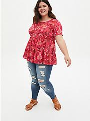 Red Floral Tiered Blouse, FLORAL - PINK, alternate