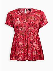 Red Floral Tiered Blouse, FLORAL - PINK, hi-res