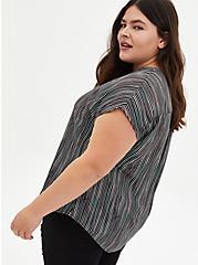 Black Ink Stripe Georgette Dolman Sleeve Blouse, STRIPE -BLACK, alternate