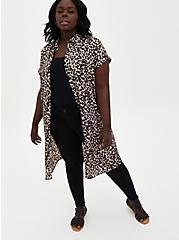 Leopard Georgette Dolman Tunic Blouse, LEOPARD - TAN, hi-res
