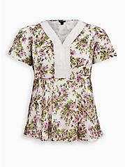 White Floral Clip Dot Flutter Sleeve Blouse, WATERCOLOR - WHITE, hi-res