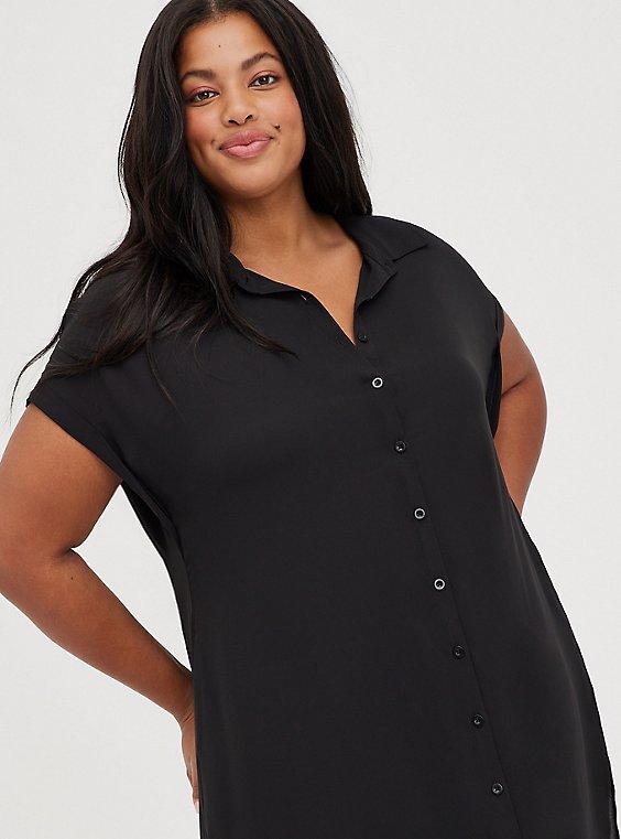 Black Georgette Dolman Tunic Blouse, DEEP BLACK, hi-res