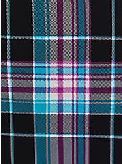 Black Plaid Georgette Dolman Tunic Blouse, PLAID - BLACK, alternate