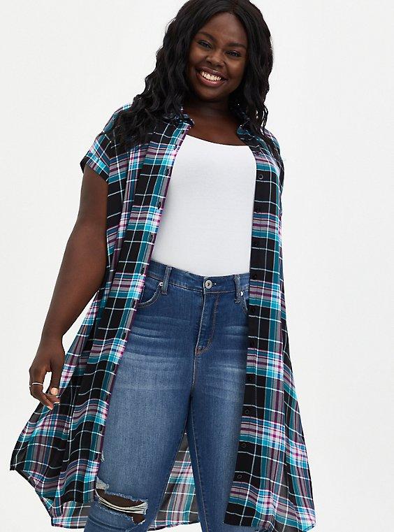 Black Plaid Georgette Dolman Tunic Blouse, , hi-res