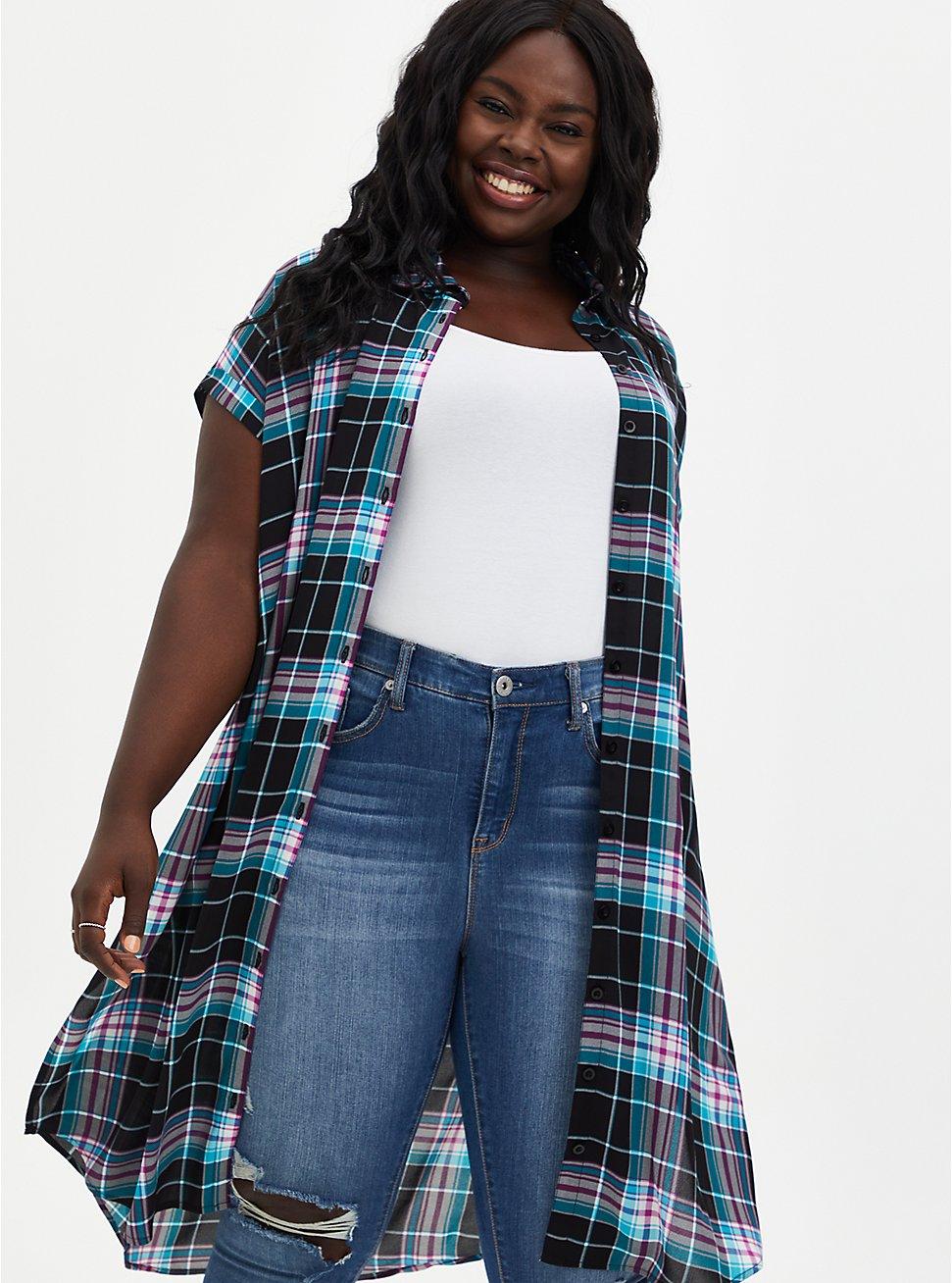 Black Plaid Georgette Dolman Tunic Blouse, PLAID - BLACK, hi-res