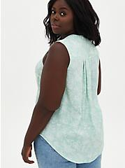 Plus Size Harper - Green Floral Gauze Button Front Tunic, FLORAL - GREEN, alternate
