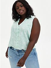 Plus Size Harper - Green Floral Gauze Button Front Tunic, FLORAL - GREEN, hi-res