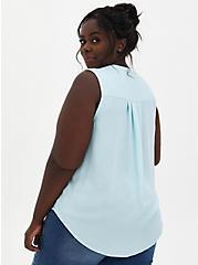 Harper - Light Blue Gauze Button Front Blouse, BLUE, alternate