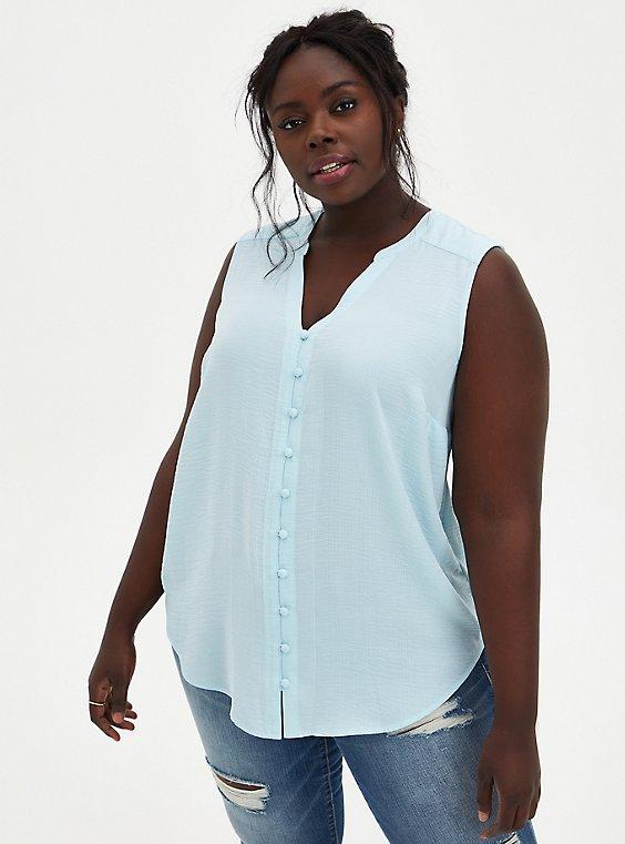 Harper - Light Blue Gauze Button Front Blouse, BLUE, hi-res