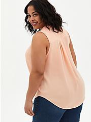 Harper - Peach Gauze Button Front Blouse, PEACH NECTAR, alternate