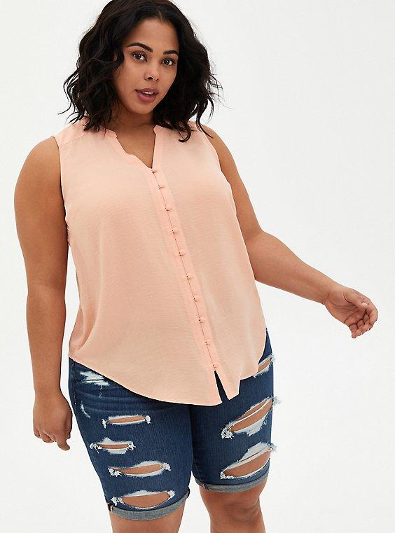 Harper - Peach Gauze Button Front Blouse, PEACH NECTAR, hi-res