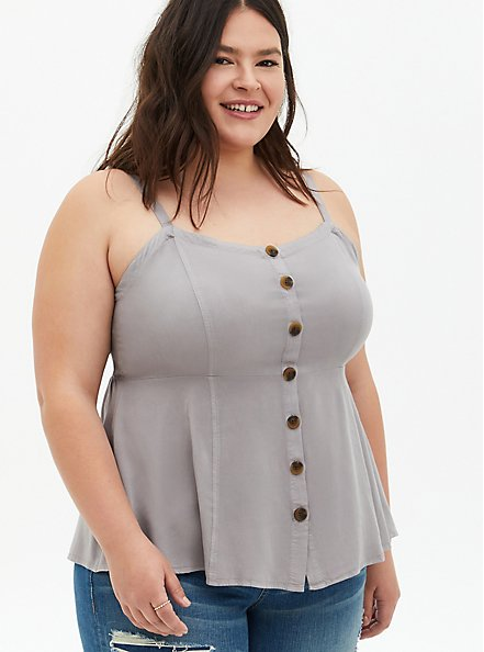 Grey Washed Twill Fit & Flare Tank, ASH, hi-res