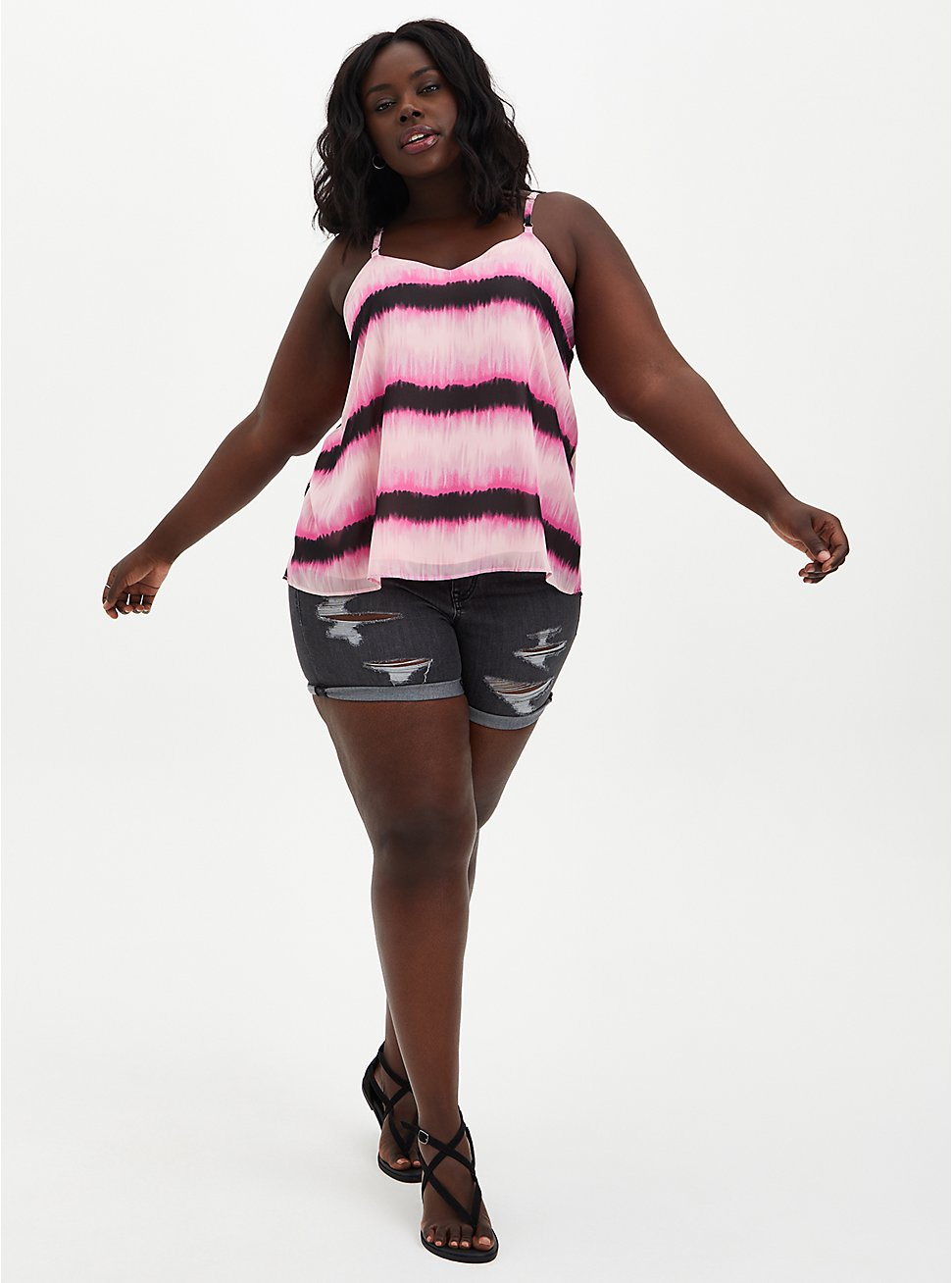 Sophie - Light Pink Tie-Dye Chiffon Swing Cami, DYE - PINK, hi-res