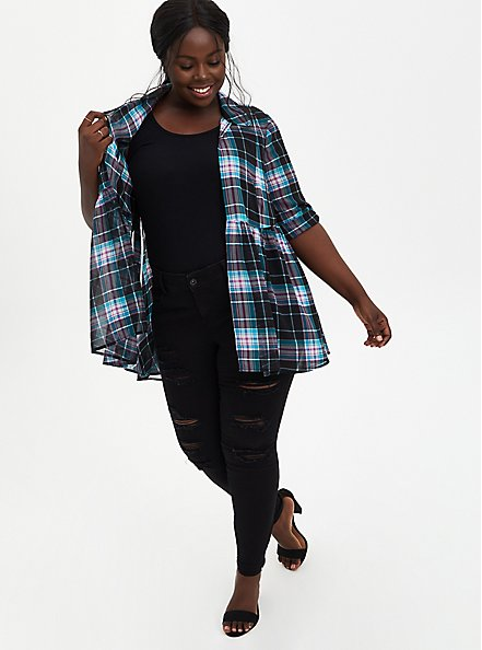 Black Plaid Chiffon Roll Sleeve Kimono , PLAID, alternate