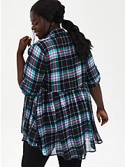 Black Plaid Chiffon Roll Sleeve Kimono , PLAID, alternate