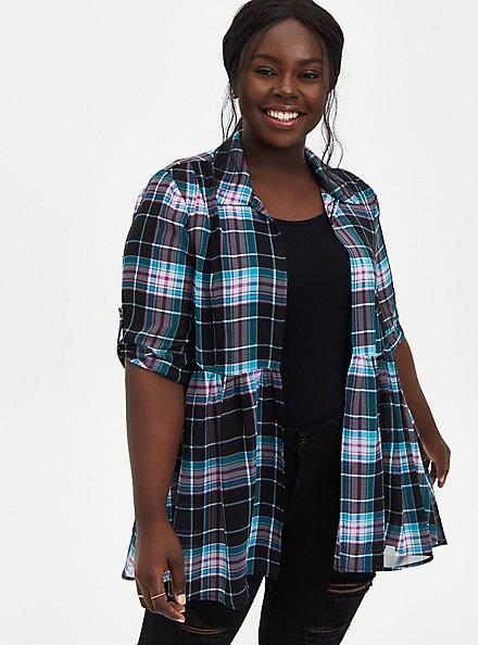 Black Plaid Chiffon Roll Sleeve Kimono , PLAID, hi-res