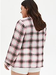 Pink Plaid Gauze Drape Front Kimono, PLAID, alternate