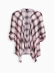 Pink Plaid Gauze Drape Front Kimono, PLAID, hi-res