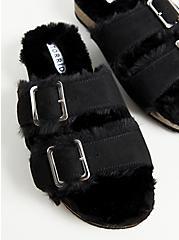 Black Faux Fur-Lined Double Band Slide Sandal (WW), BLACK, alternate